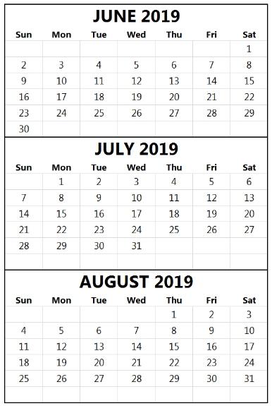 Print June July August Calendar 2019. #June #July #August