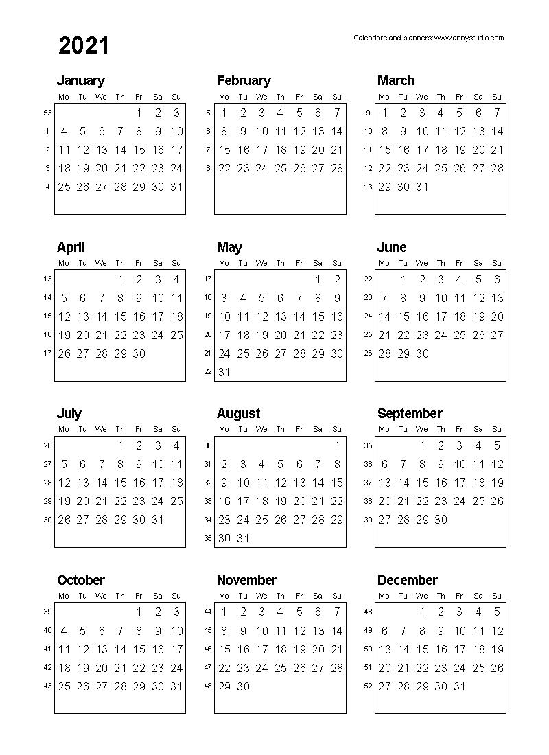 Print Pocket 2021 Calendar Free – Template Calendar Design