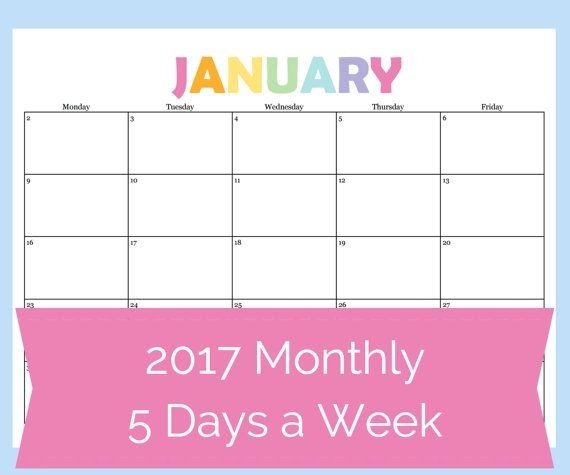 Printable 2017 Calendar That Features A 5 Day Week (Monday