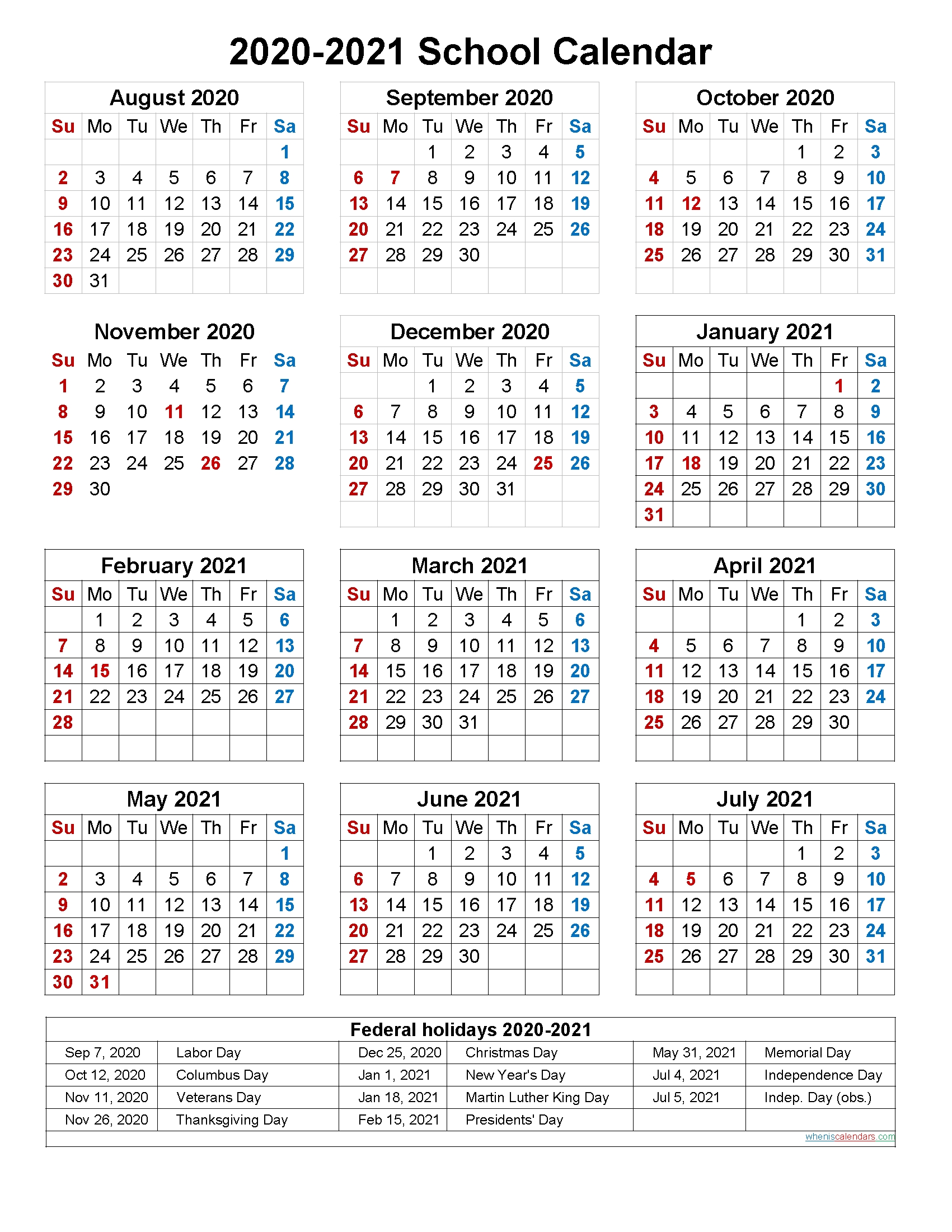 Printable 2020 2021 School Calendar | Printable Calendar