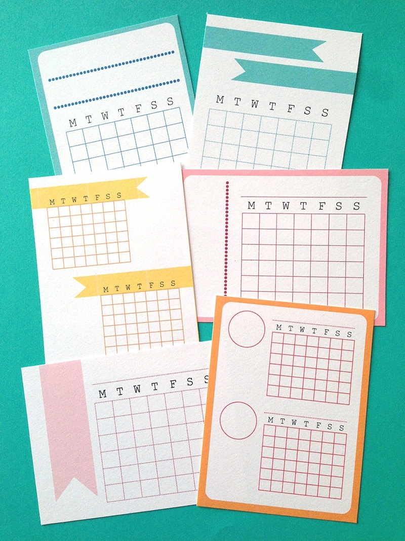 Printable 3X4 Month Calendars Journal Cards Instant