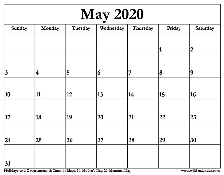 Printable 5 Day Calendar 2020 | Printable Calendar Free