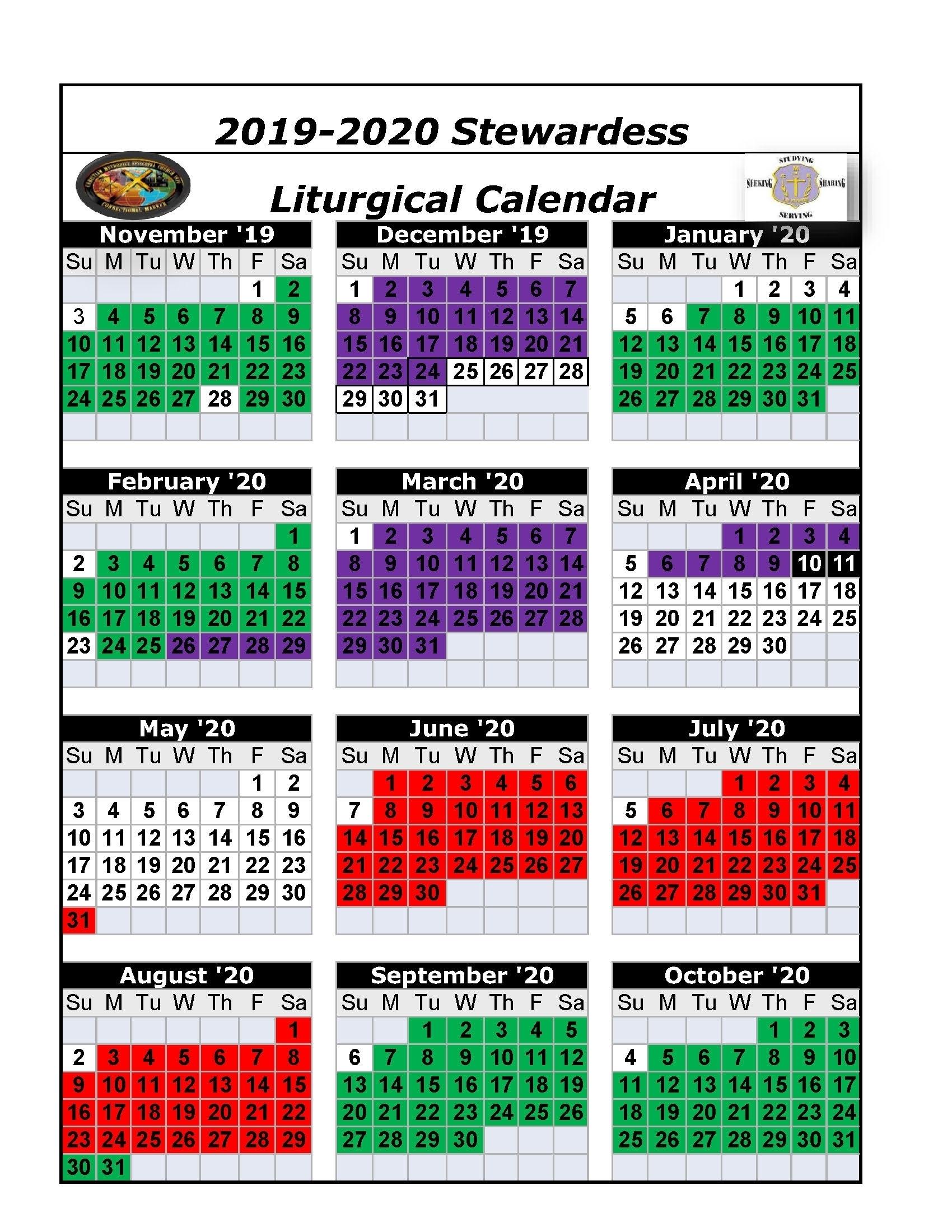 Printable Ame Liturgical Color Calendar 2020 - Calendar