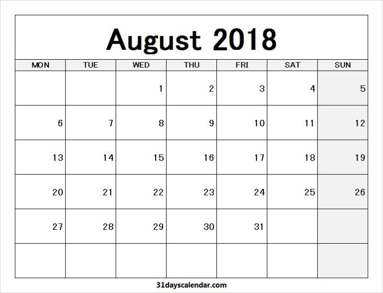 Printable Blank Aug 2018 Calendar Monday To Sunday