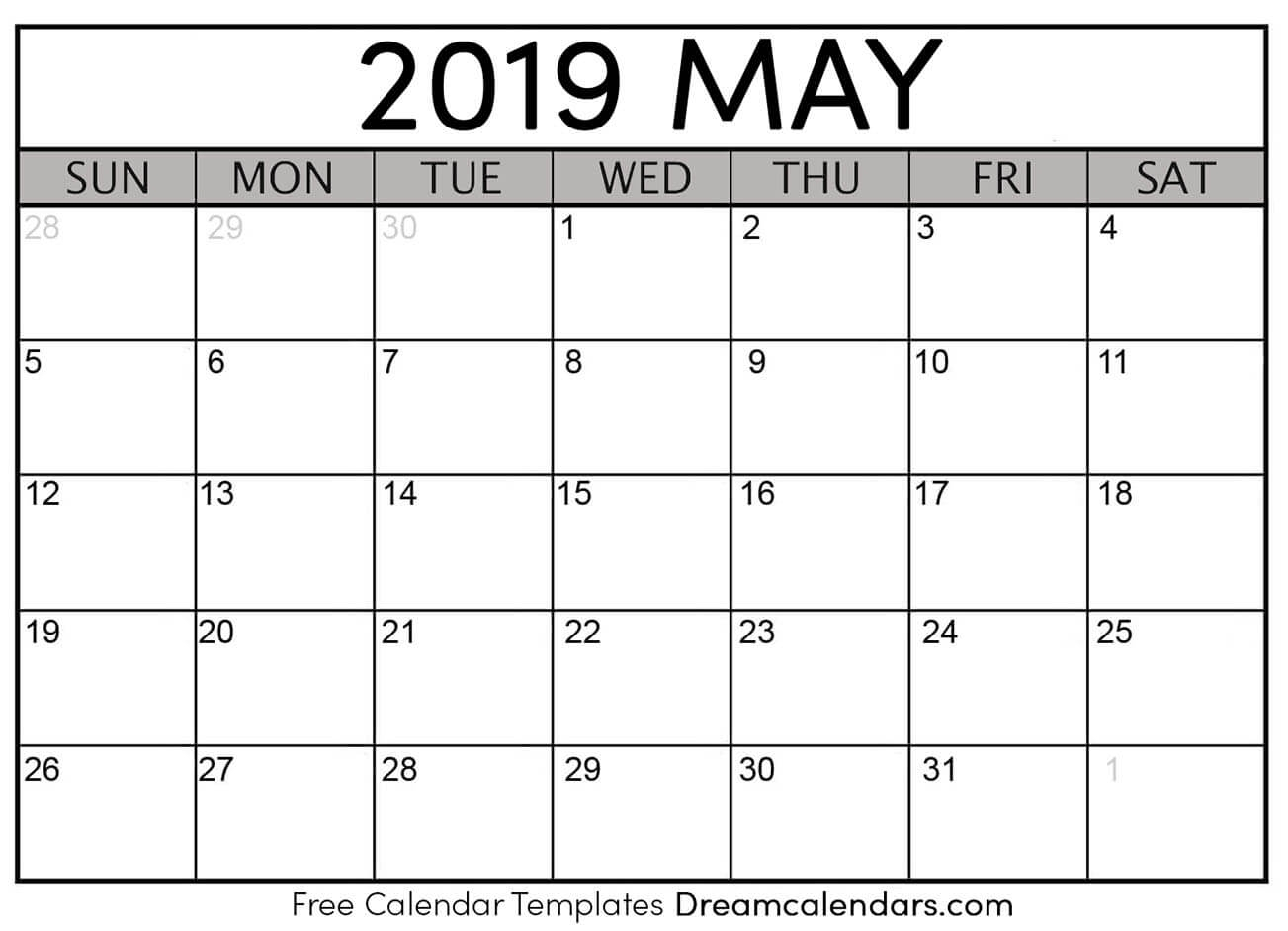 Printable Blank May 2019 Calendar On We Heart It