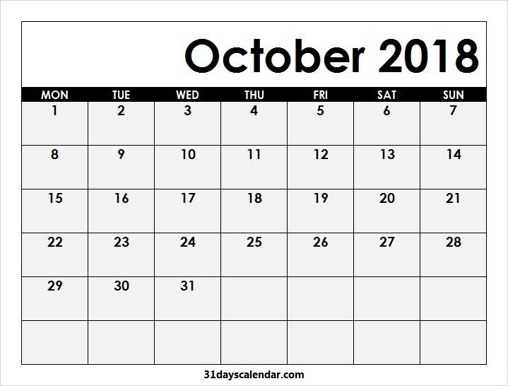 Printable Blank Oct 2018 Calendar Monday To Sunday