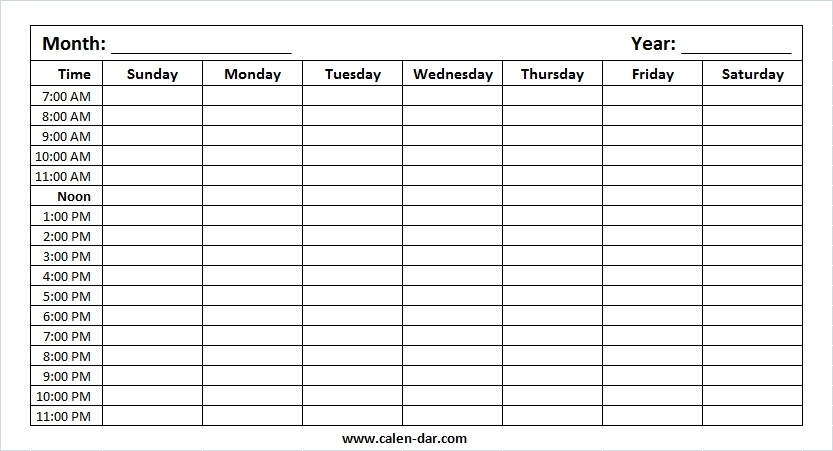 Printable Blank Weekly Calendar Monday To Sunday With Hours