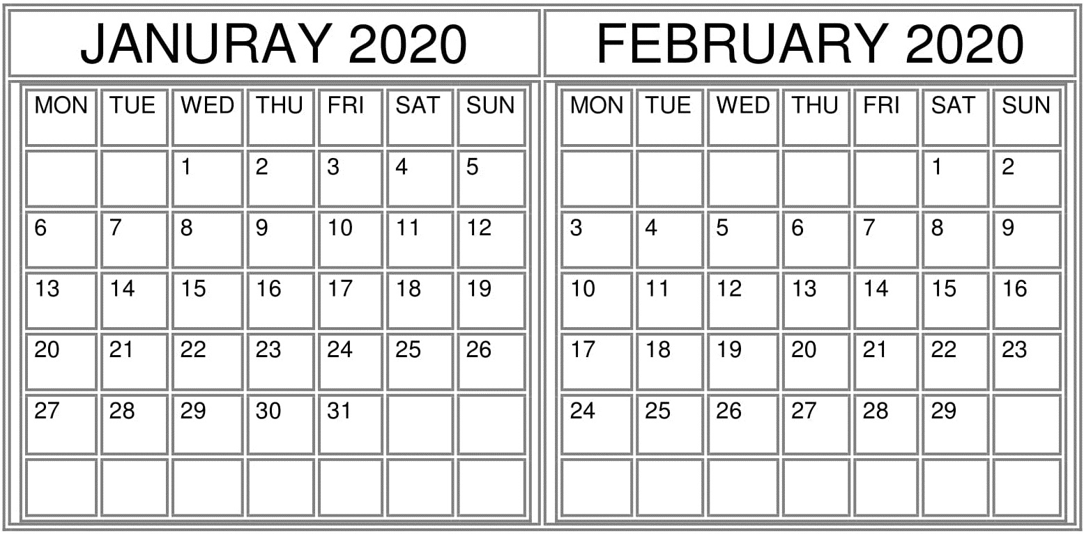 Printable Calendar 2020 That Also Has Julian Date
