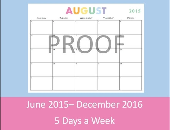 Printable Calendar, 5 Day Calendar, 5 Day Weekly Planner