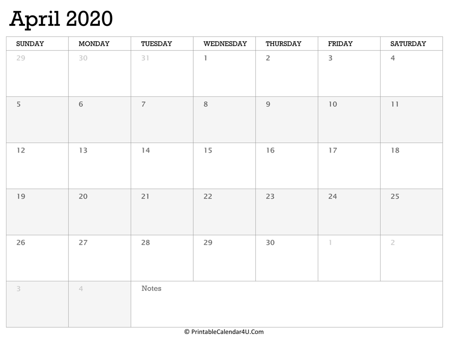 Printable Calendar April 2020 With Holidays