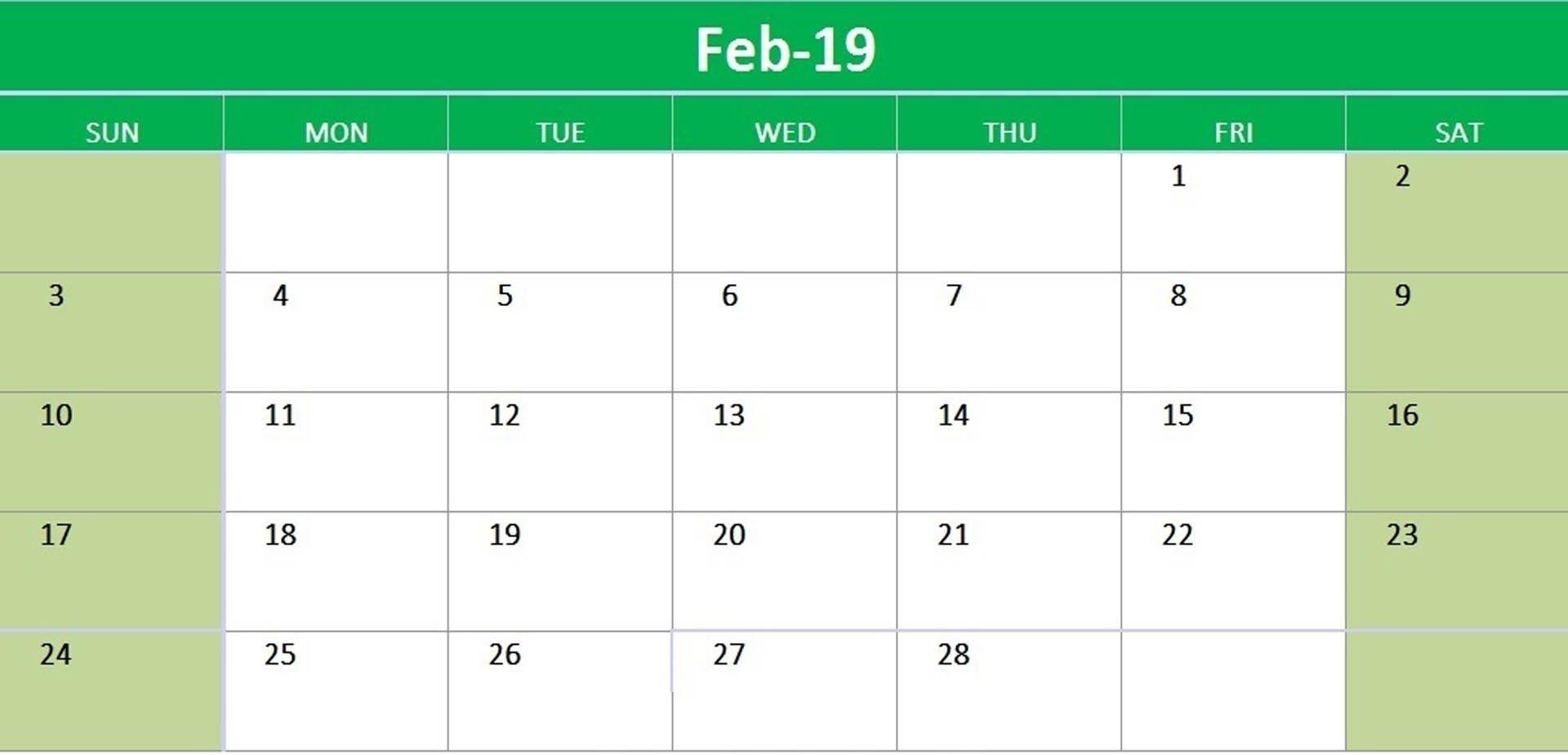 Printable Calendar February 2019 Landscape #February #