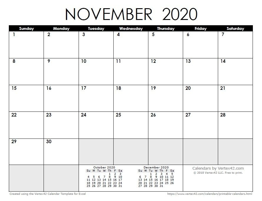 Printable Calendar November And December 2020