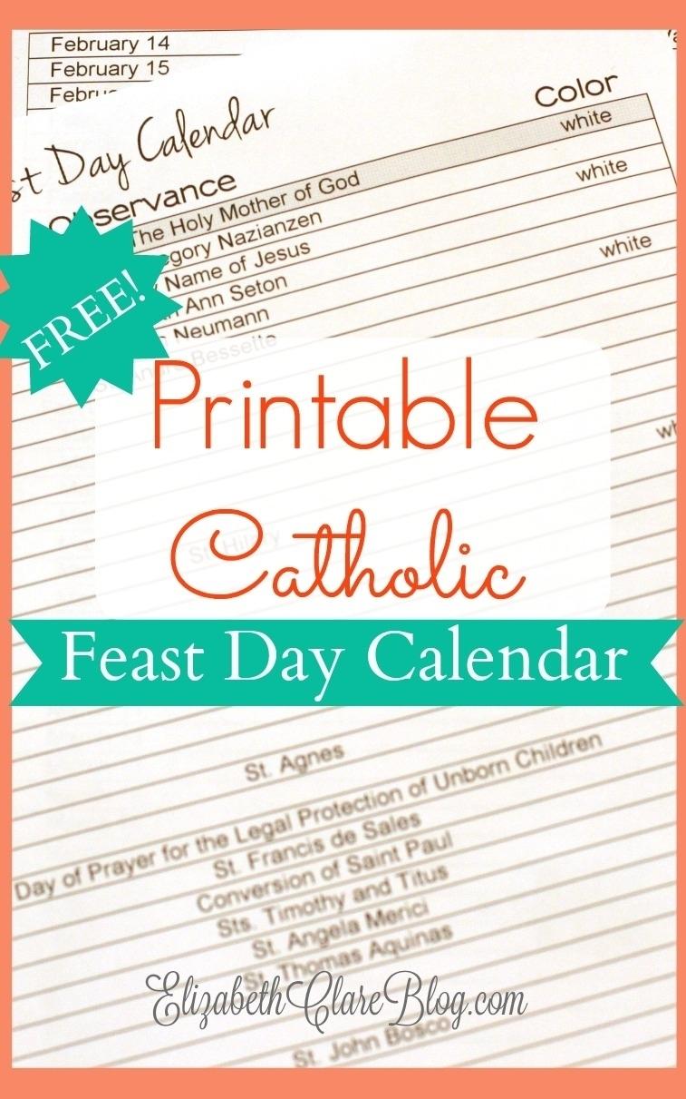 Printable Catholic Liturgical Calendar 2020 - Calendar