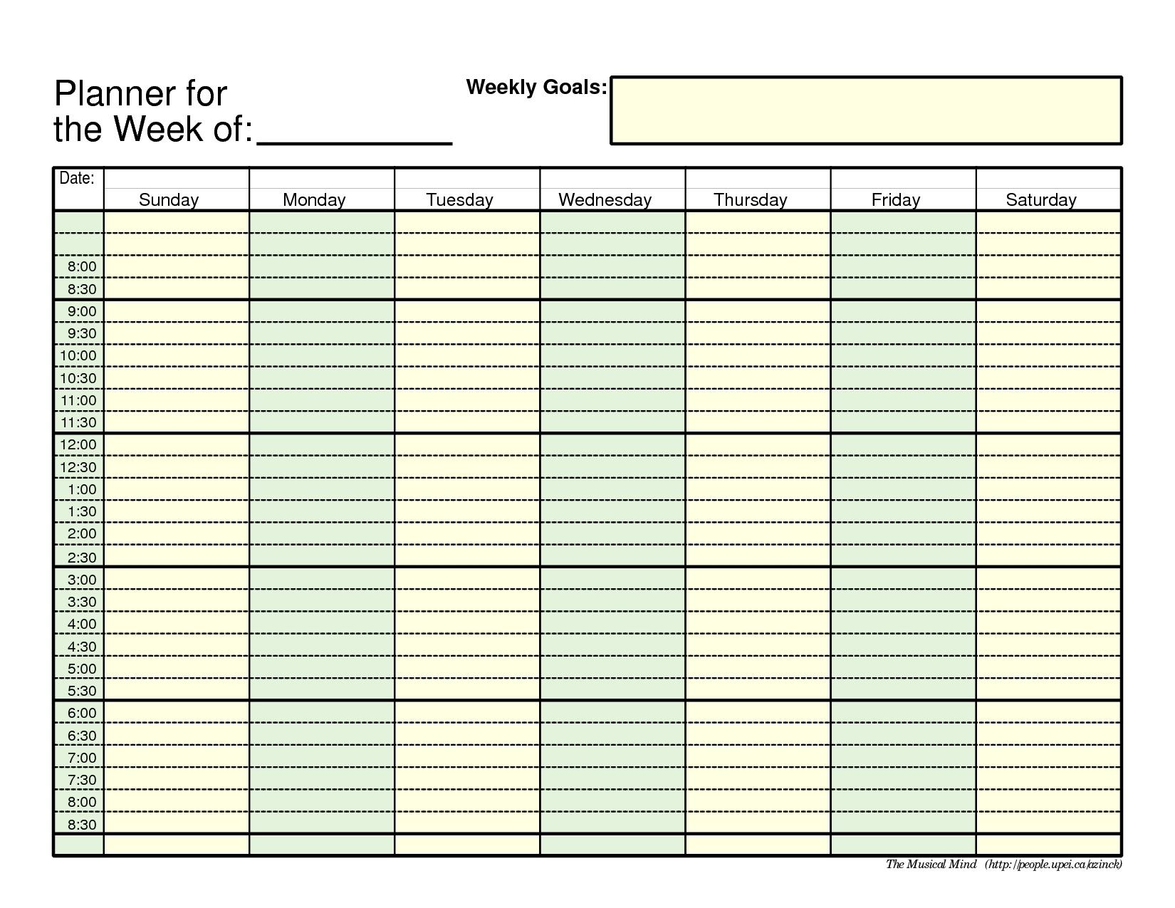 Printable Daily Calendar With Time Slots | Printable