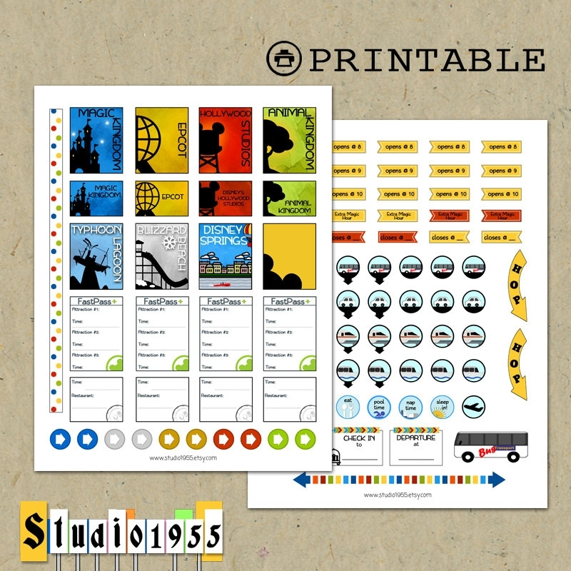 Printable Disney World Planner Stickers For Use With Erin