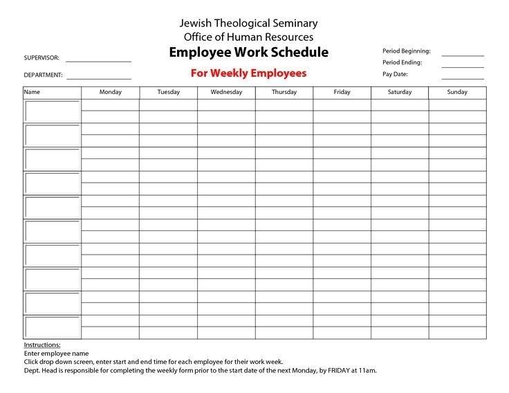 Printable Employee Work Schedules Calendar Template 2016