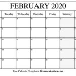 Calendar Template For February 2020 Monday Through Sunday