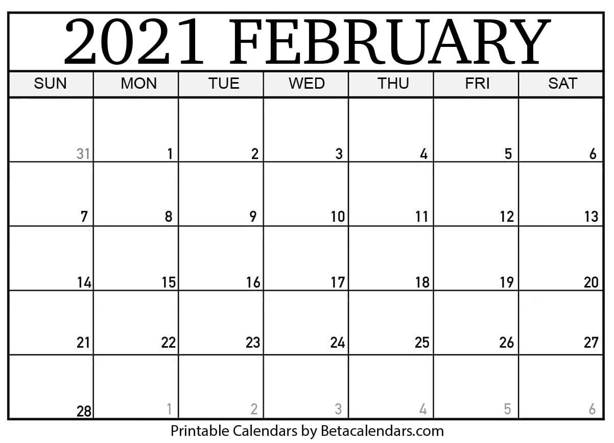 Printable February 2021 Calendar - Beta Calendars