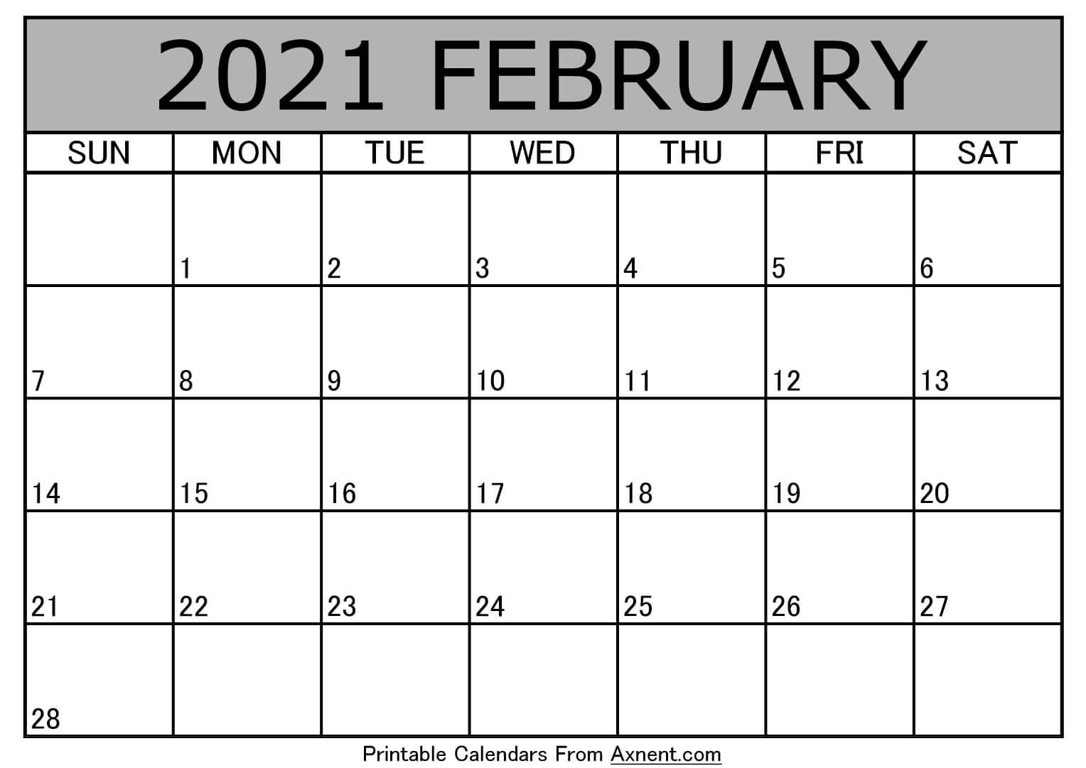 Printable February 2021 Calendar Template - Time