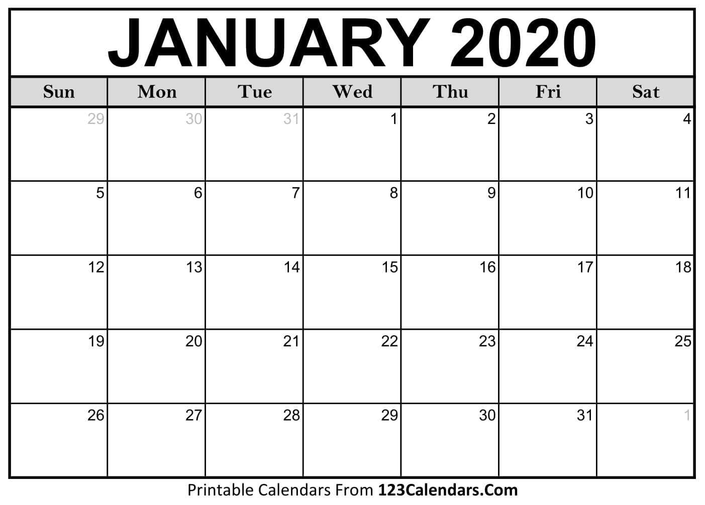 Printable Fill In Calendar For 2020 - Calendar Inspiration