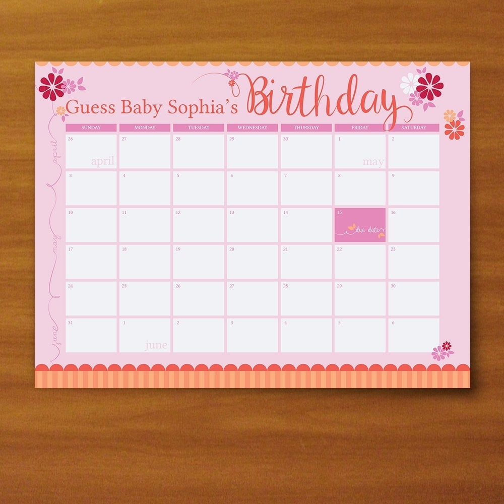 Printable Guess The Due Date Calendar Baby Girl Pink And