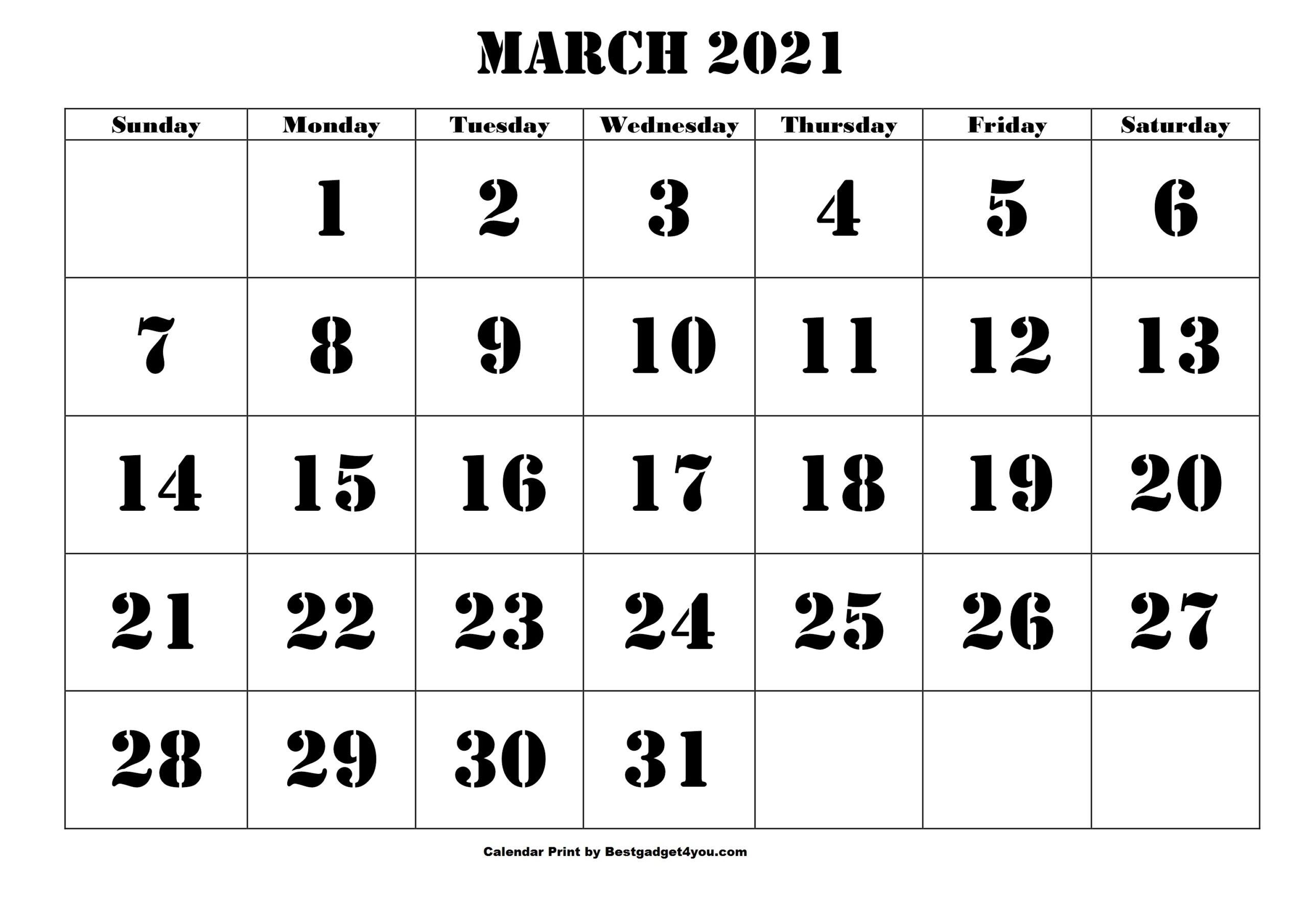 Printable March 2021 Calendar - Bestgadget4You