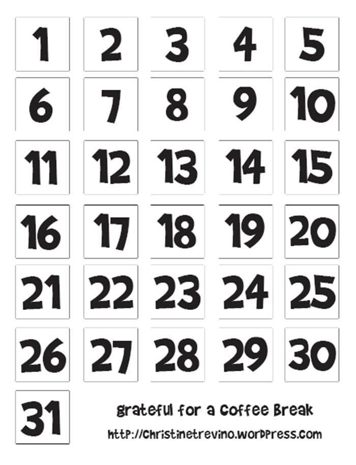 Printable Numbers For Calendars | Printable Calendar