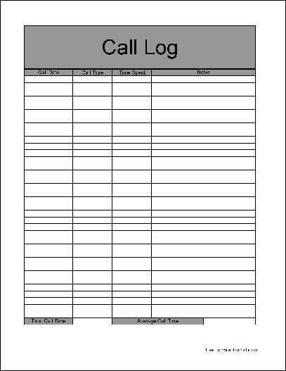 Printable Pdf Call Log Sheet | Search Results | Calendar 2015