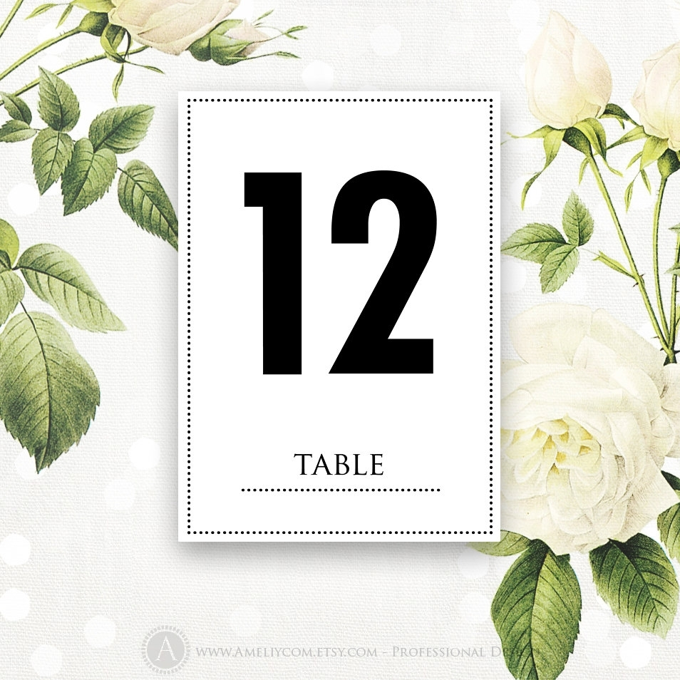 Printable Table Numbers Cards 5 X 7 Instant