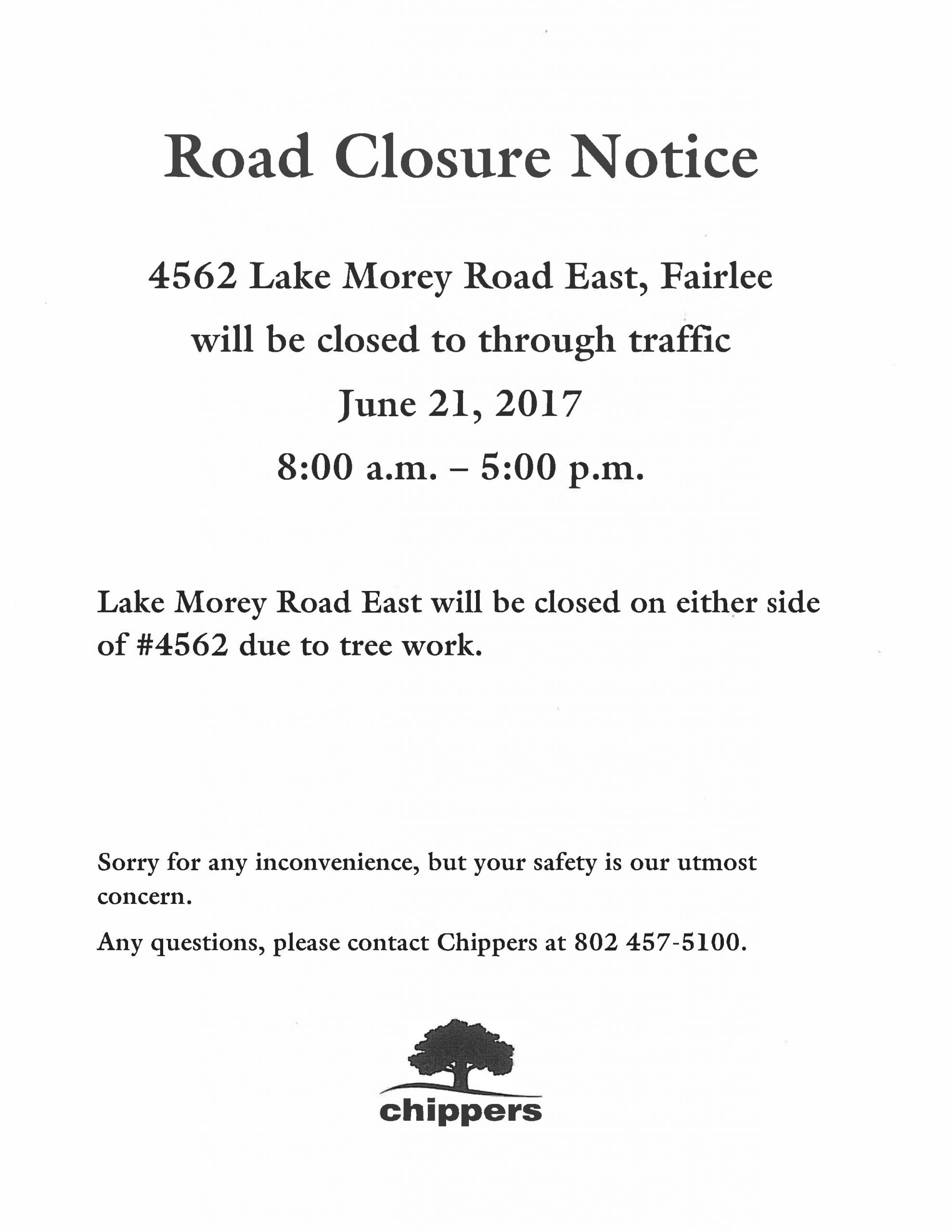Road Closure – Lake Morey Rd. East – Fairlee, Vermont