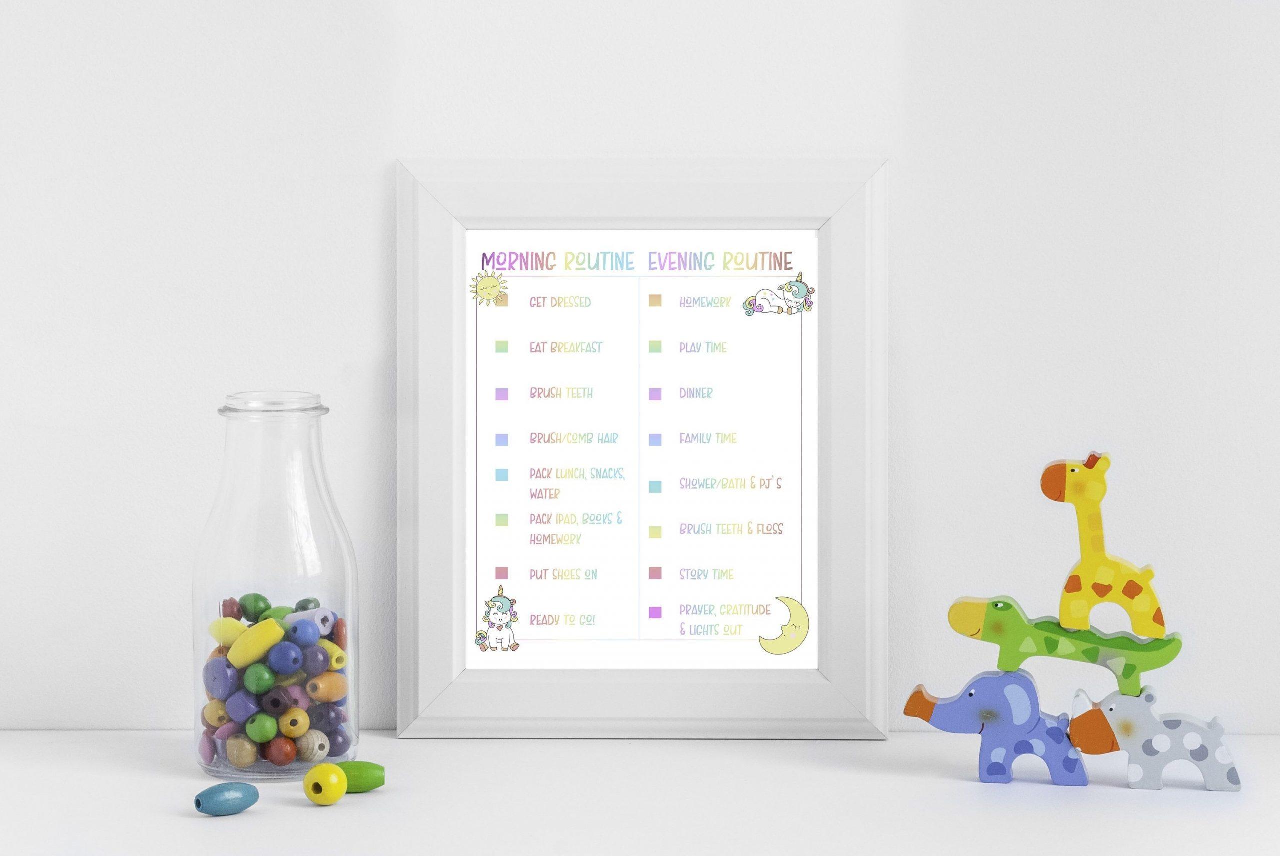Routine For Kids, Am/Pm Schedule Checklist For Kids