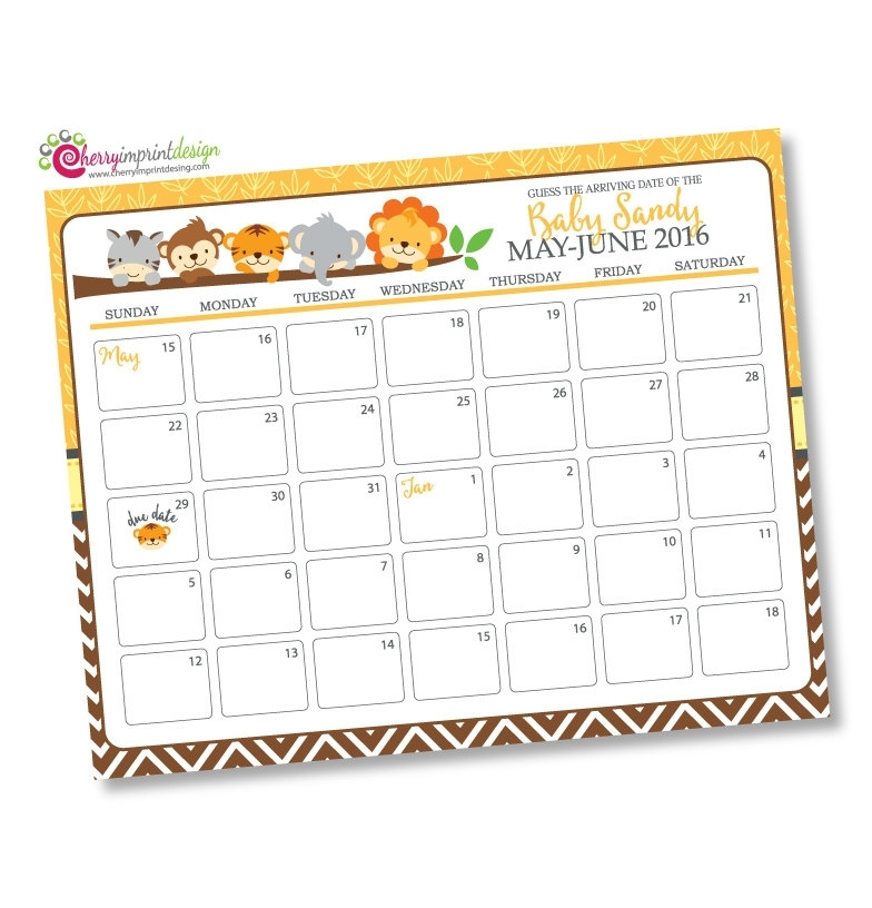 Safari Guess The Due Date Calendar Baby Shower Birthday | Etsy