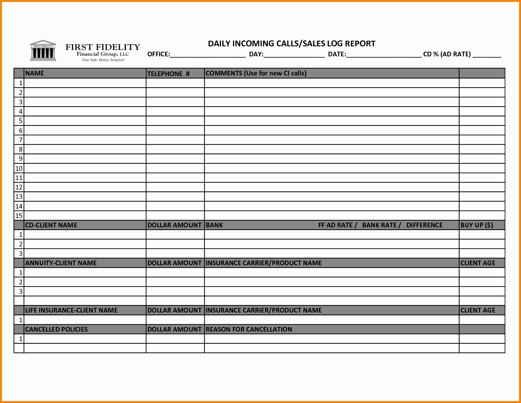 Sales Call Schedule Template To Sales Call Tracker