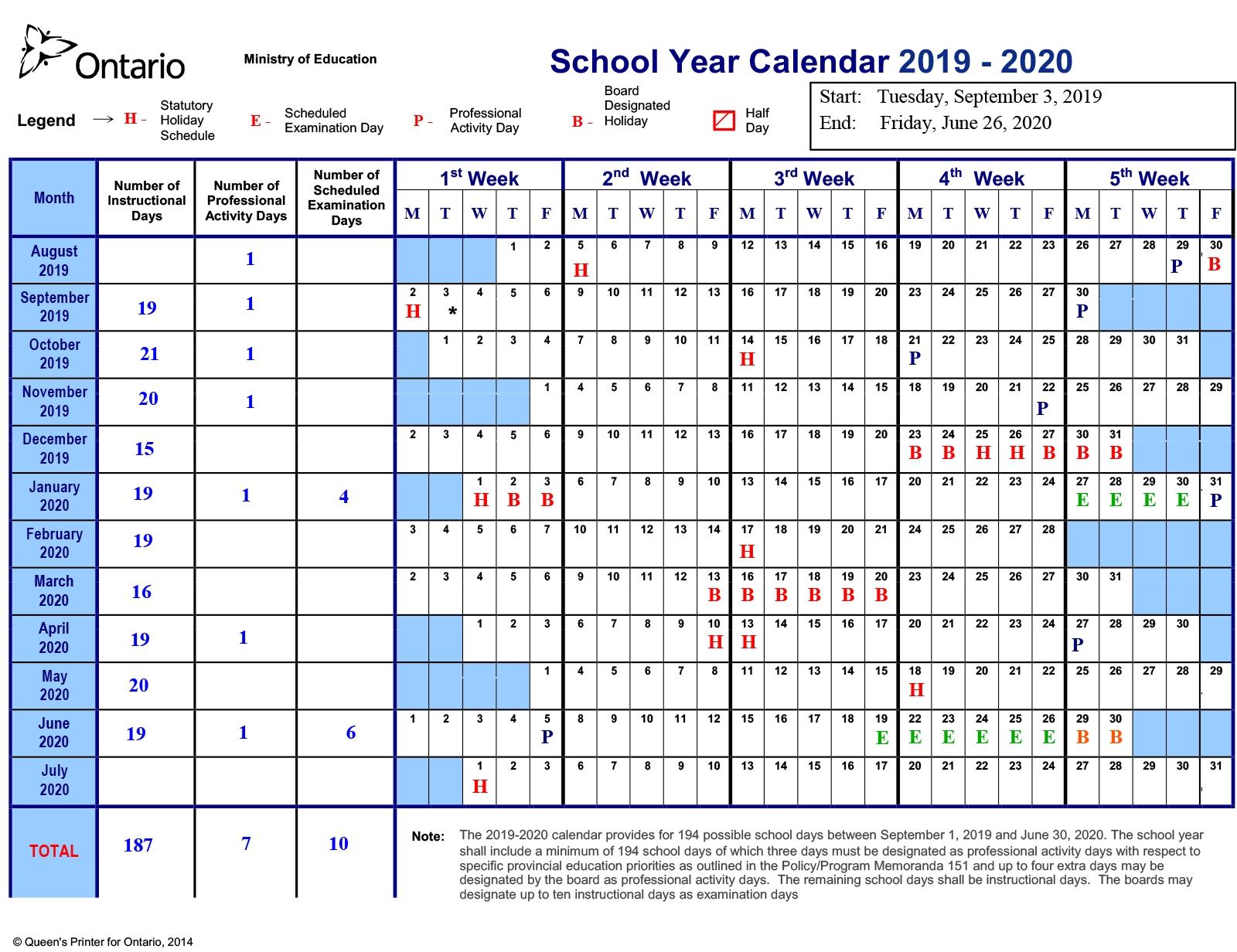 School Year Calendar 2019-2020 – Near North District