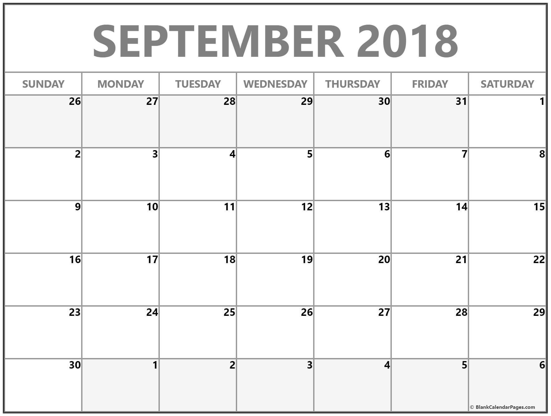 September 2018 Blank Calendar Collection.