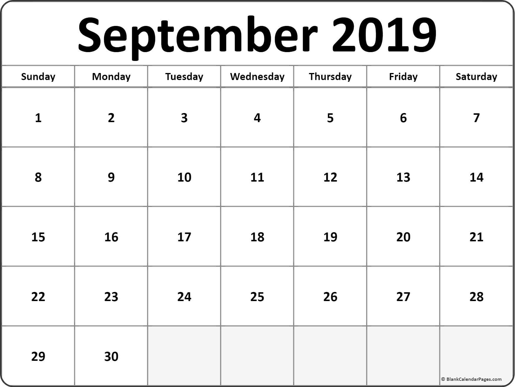 September 2019 Blank Calendar Collection.