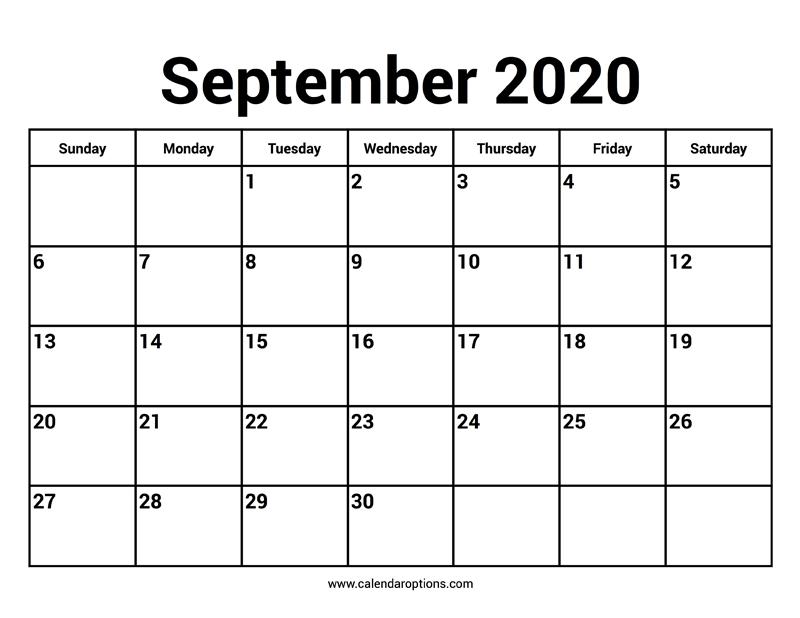 September 2020 Calendar – Calendar Options