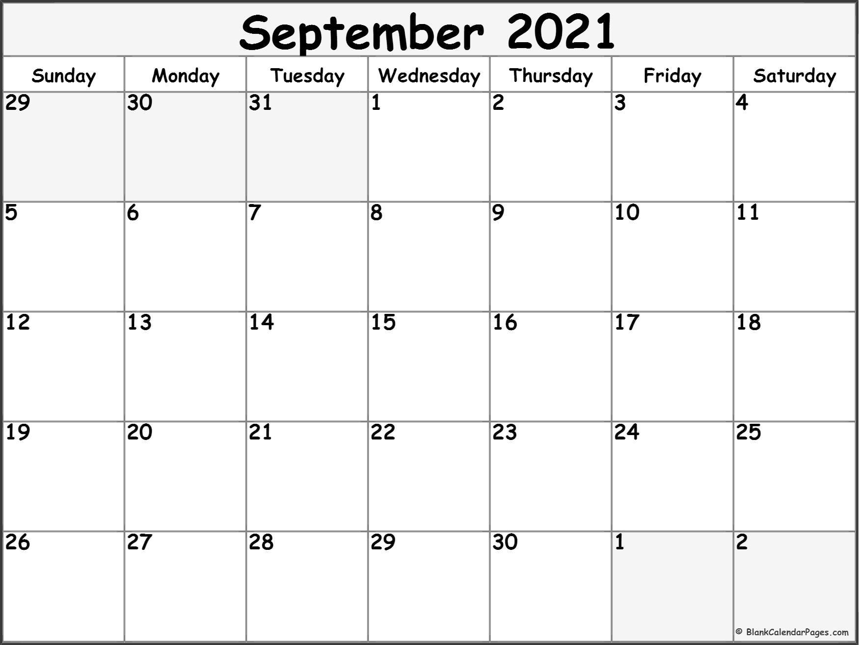September 2021 Blank Calendar Templates.
