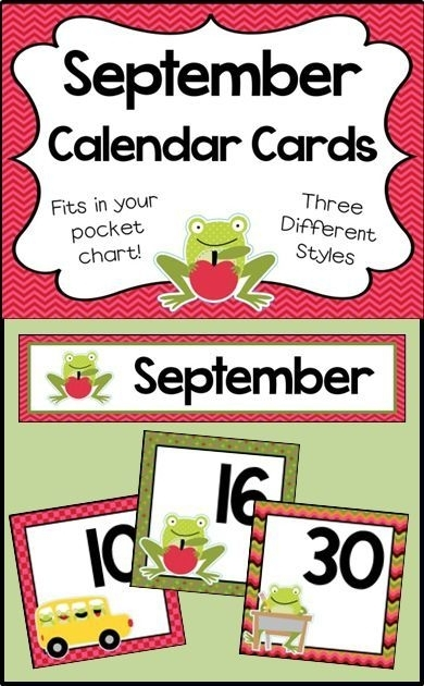 September Calendar Numbers - Monthly Calendar Cards Set
