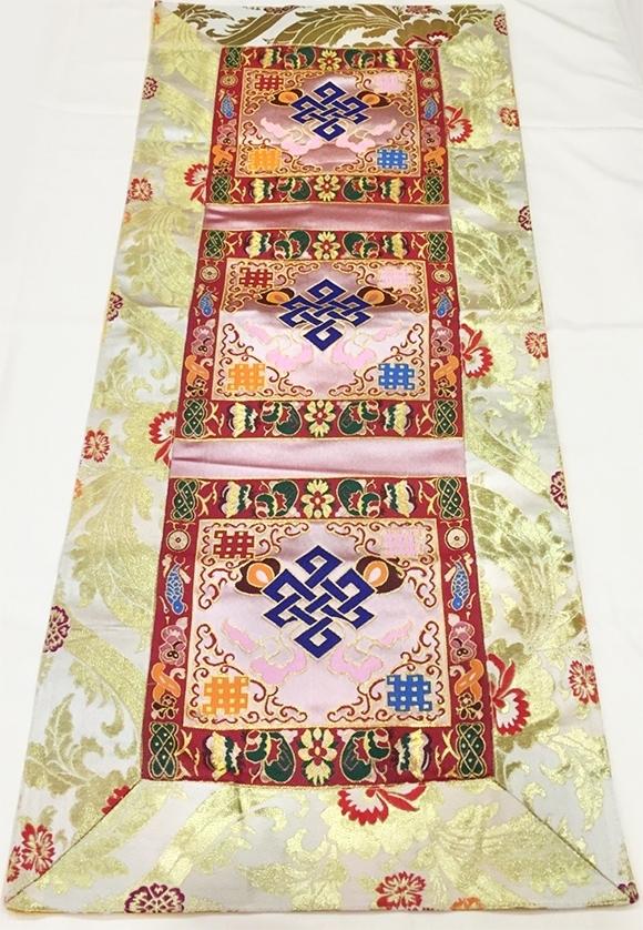 Silk Cloth For Tibetan Altar With Endless Knot Decor