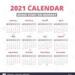 Calendar 2021 Days Numbered