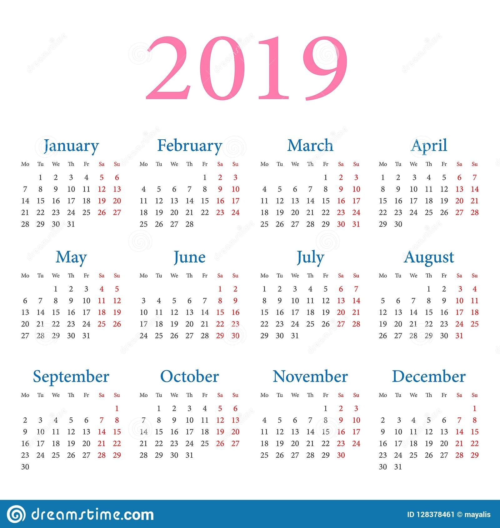 Simple Annual Calendar 2019 Stock Vector - Illustration Of