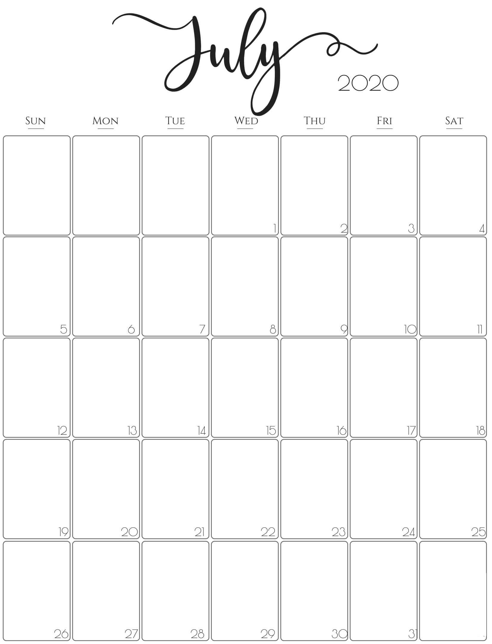 Simple July 2020 Calendar Word With Holidays - One