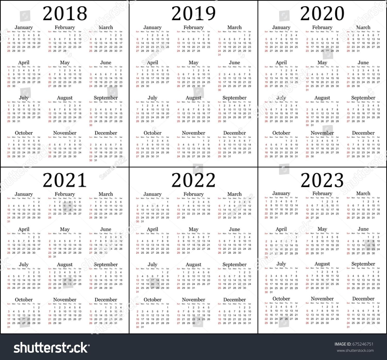 Six Year Calendar 2018 2019 2020 Stock Vector 675246751