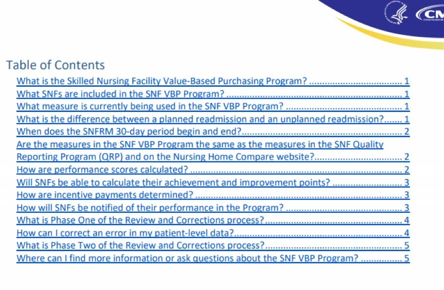 Snf Value-Based Purchasing (Vbp) Program Faqs – Briggs