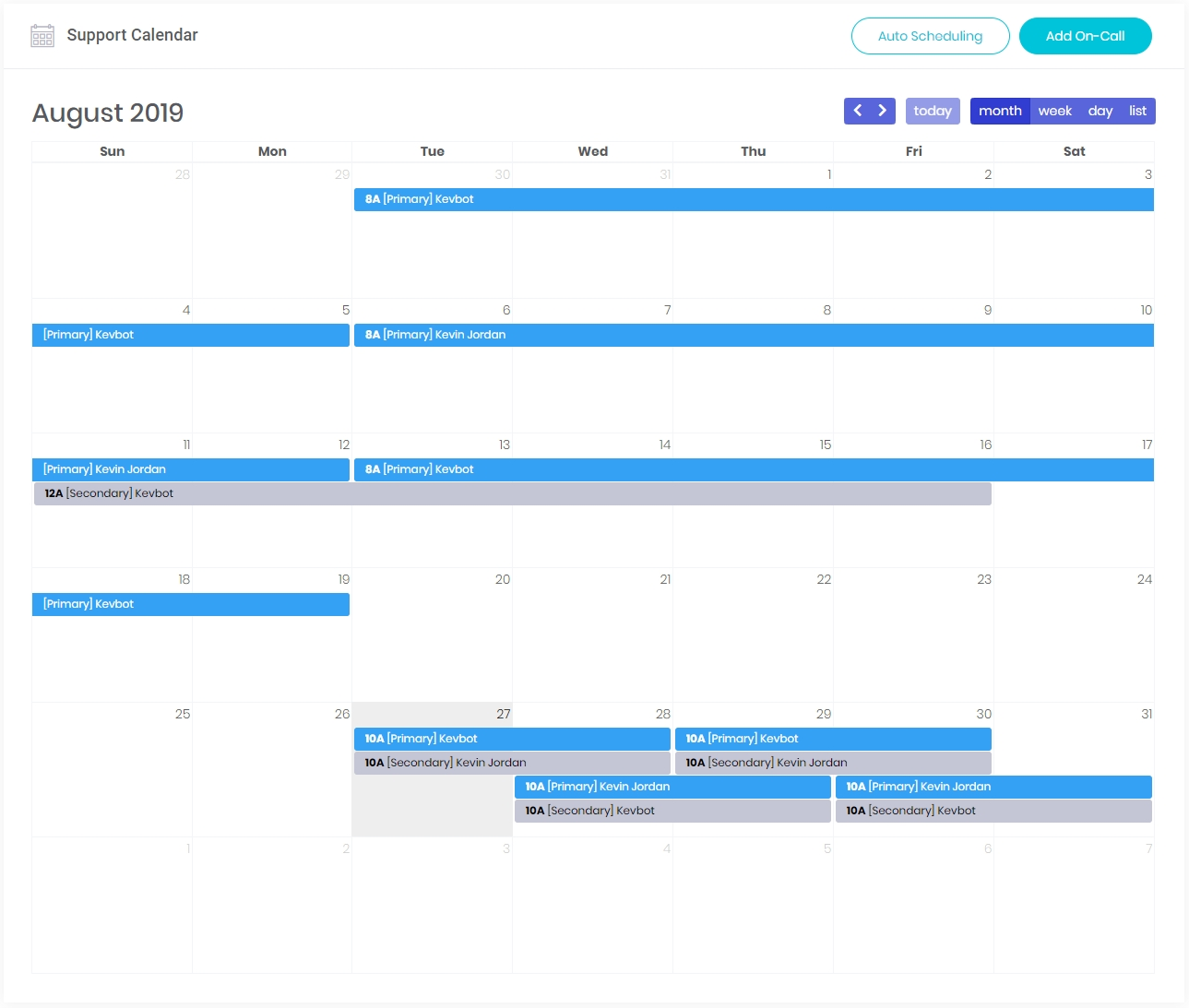Squid Alerts | On-Call Calendars