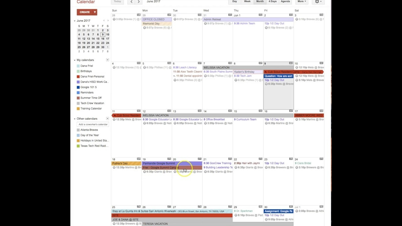 Summer Time Off Calendar - How To Add Events - Youtube