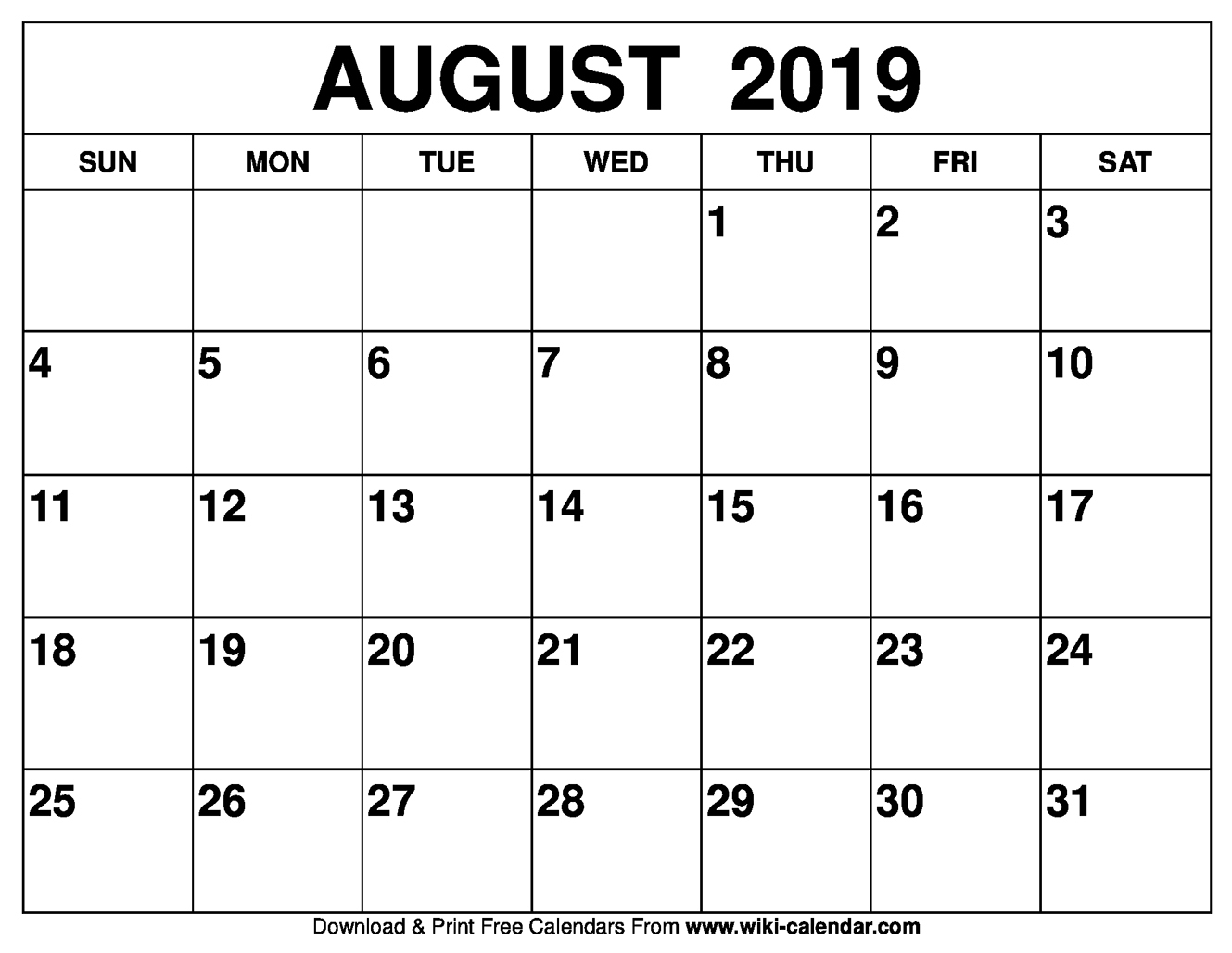 Take Fill In August 2019 Calendar Printable ⋆ The Best