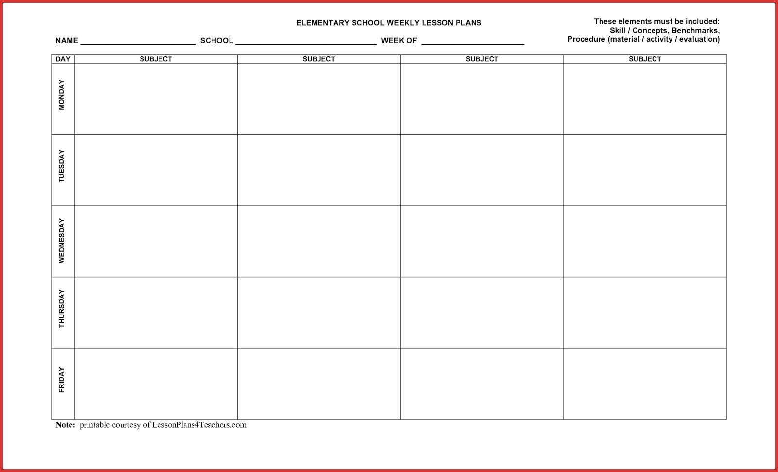 Take Free Blank 5 Day Calendar ⋆ The Best Printable