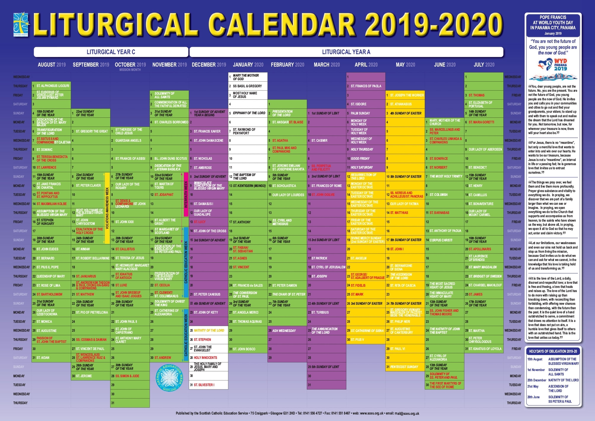 Take Liturgical Calendar 2020 Pdf | Calendar Printables